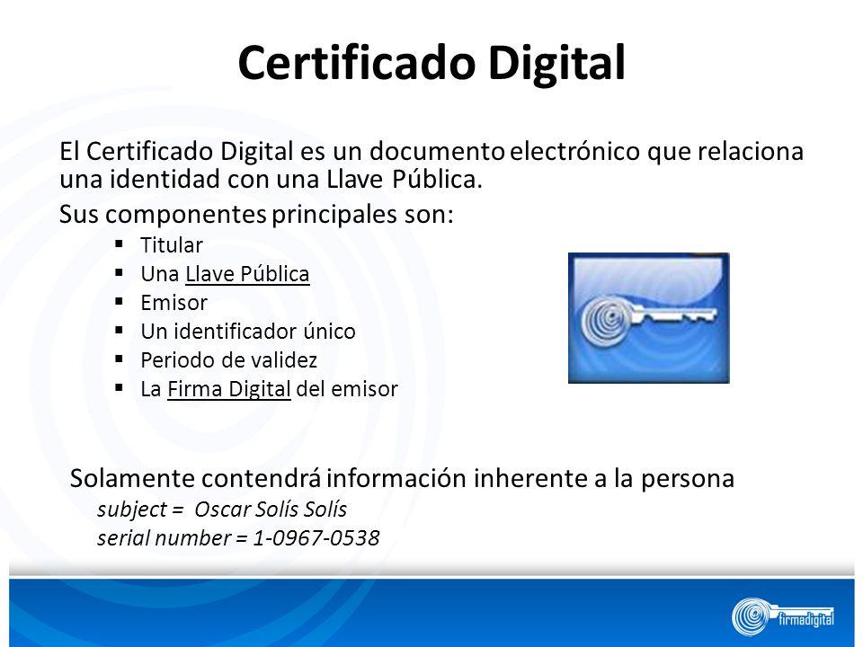 Certificado Digital El Certificado Digital es un documento electrónico que relaciona una identidad con una Llave Pública.