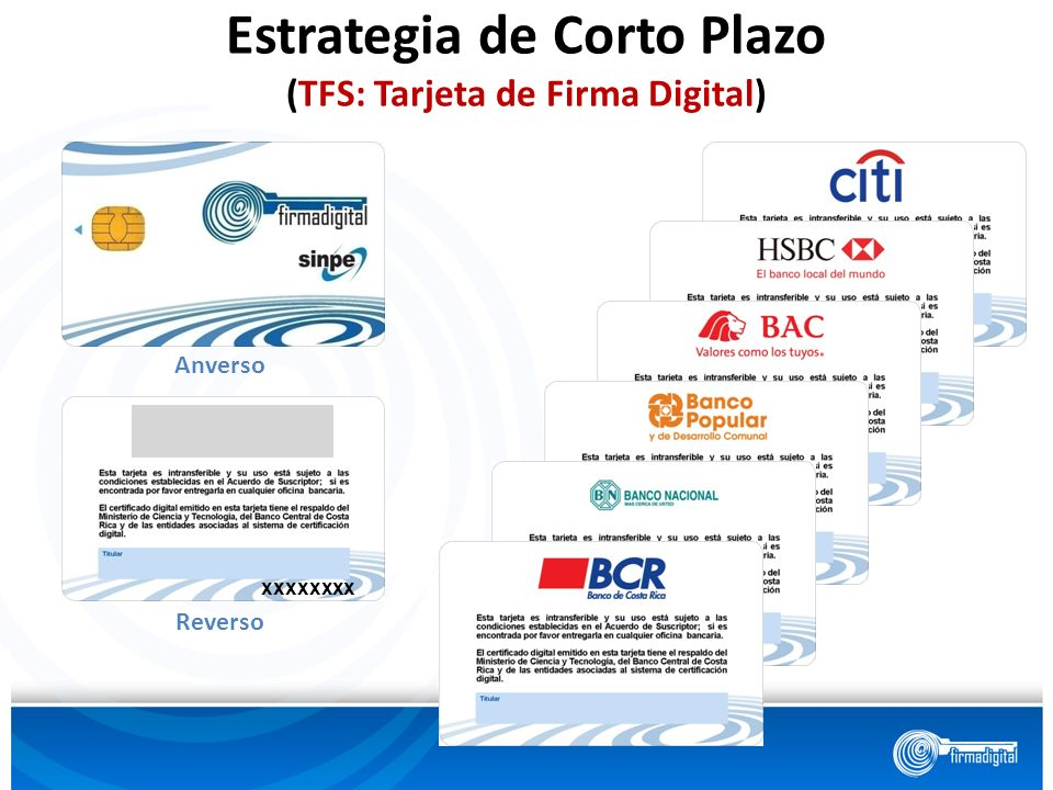 Estrategia de Corto Plazo (TFS: Tarjeta de Firma Digital)