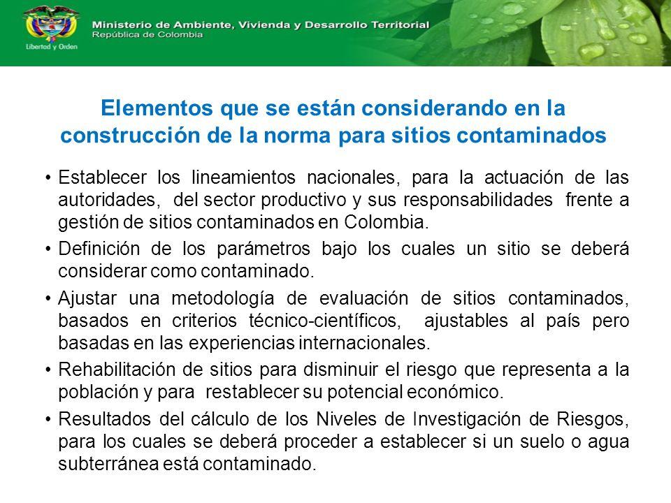 Elementos que se están considerando en la construcción de la norma para sitios contaminados