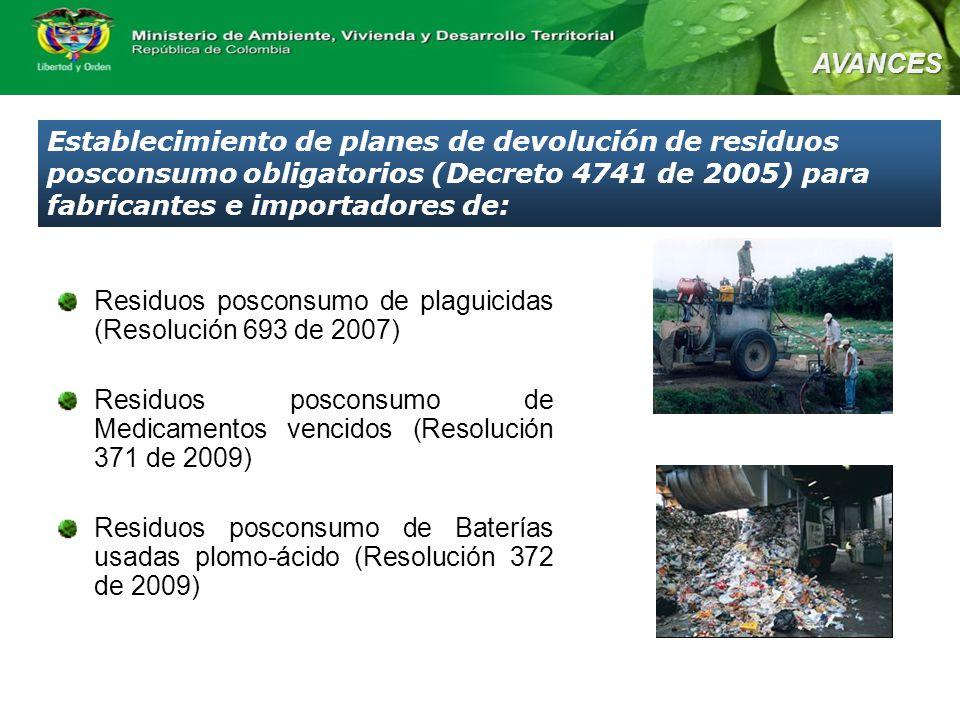 AVANCES Establecimiento de planes de devolución de residuos posconsumo obligatorios (Decreto 4741 de 2005) para fabricantes e importadores de: