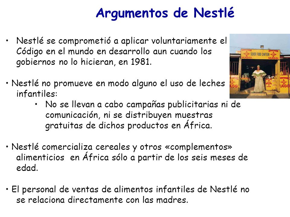 Argumentos de Nestlé