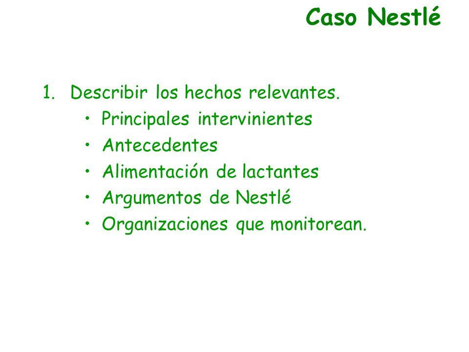Caso Nestlé Describir los hechos relevantes.