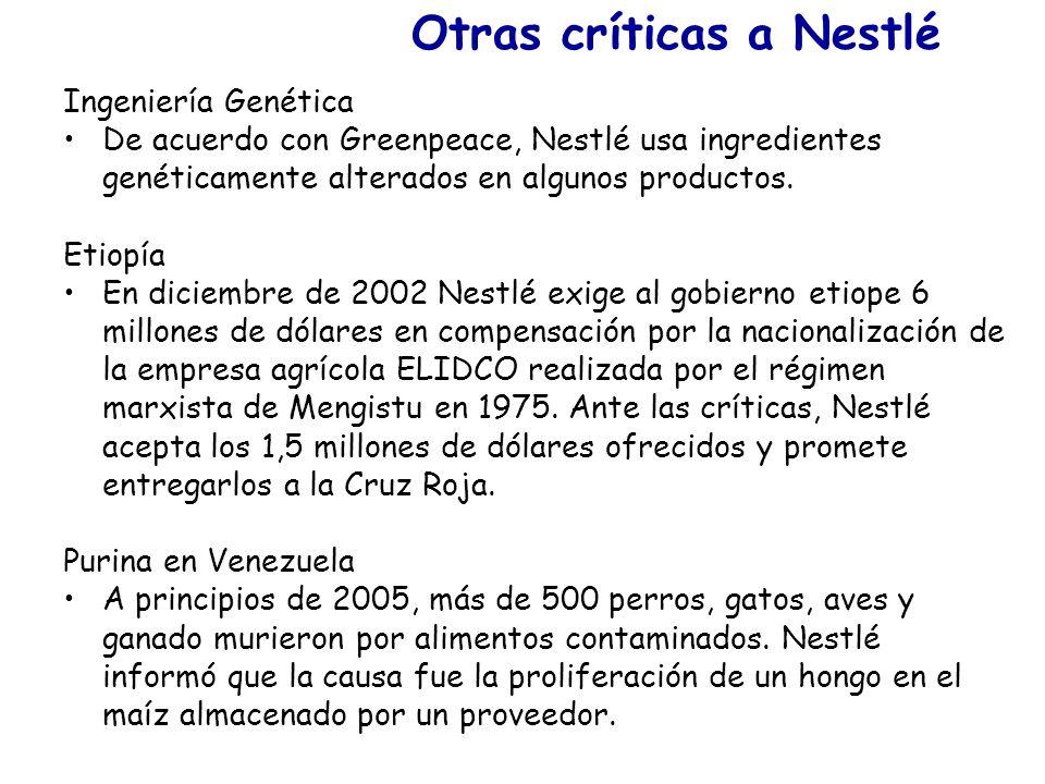 Otras críticas a Nestlé