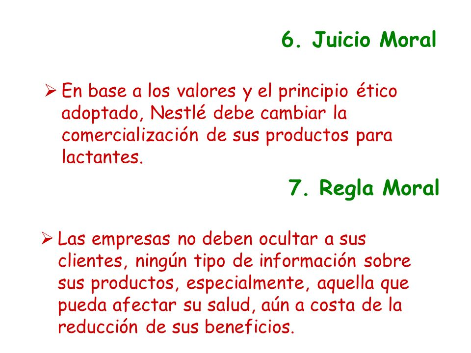 6. Juicio Moral 7. Regla Moral