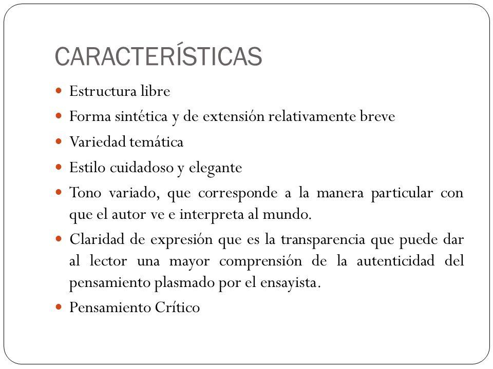 CARACTERÍSTICAS Estructura libre