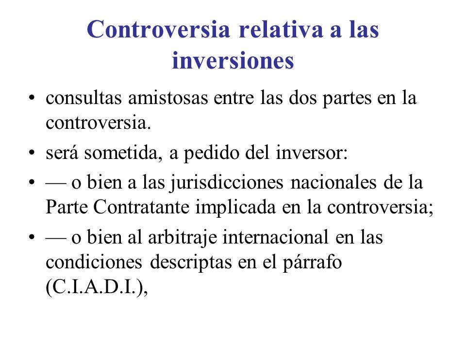 Controversia relativa a las inversiones