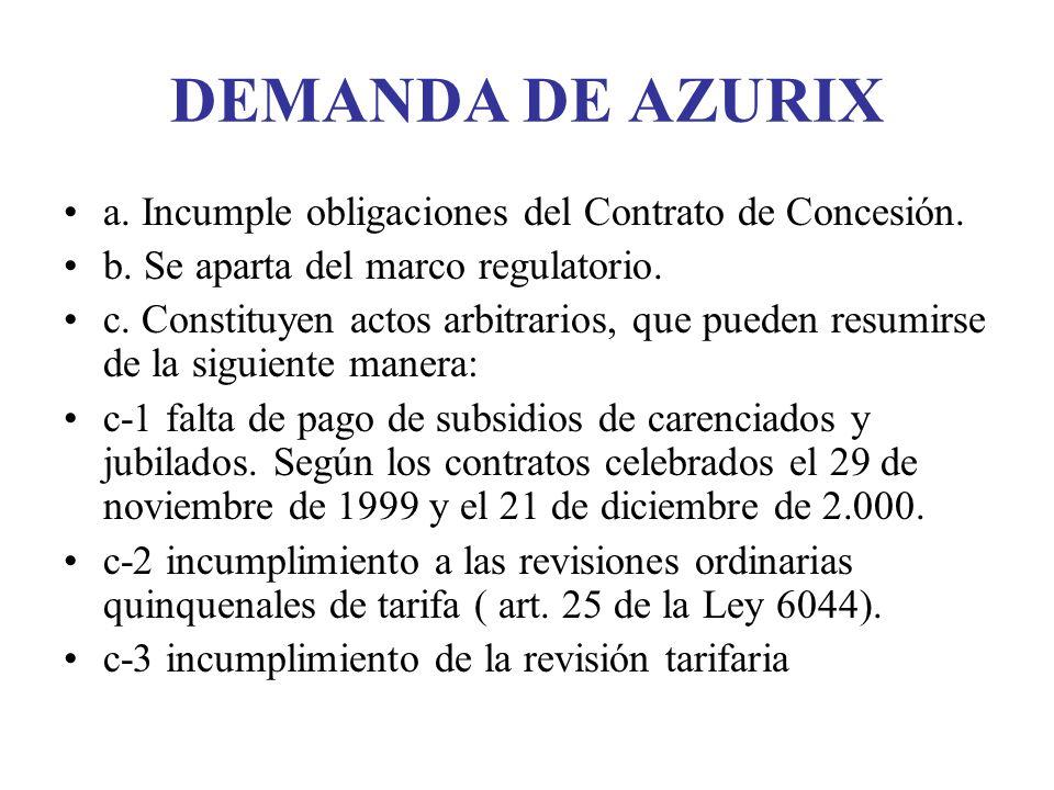 DEMANDA DE AZURIX a. Incumple obligaciones del Contrato de Concesión.