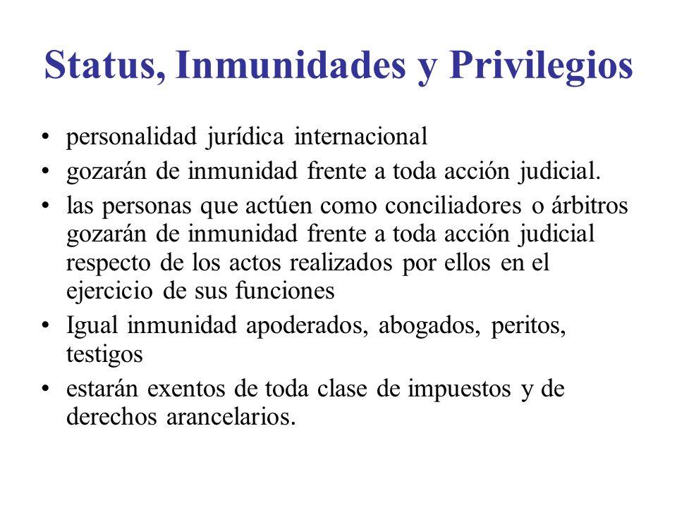 Status, Inmunidades y Privilegios