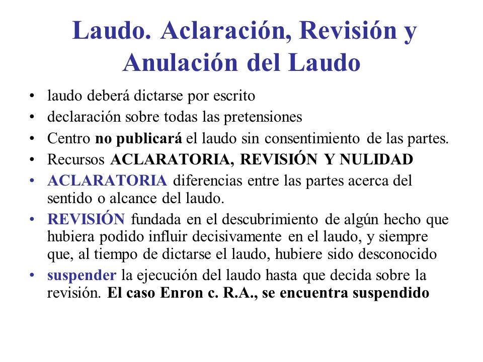 Laudo. Aclaración, Revisión y Anulación del Laudo