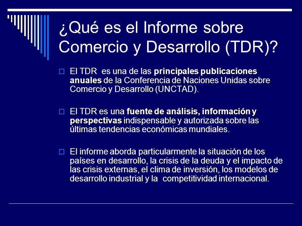 ¿Qué es el Informe sobre Comercio y Desarrollo (TDR)