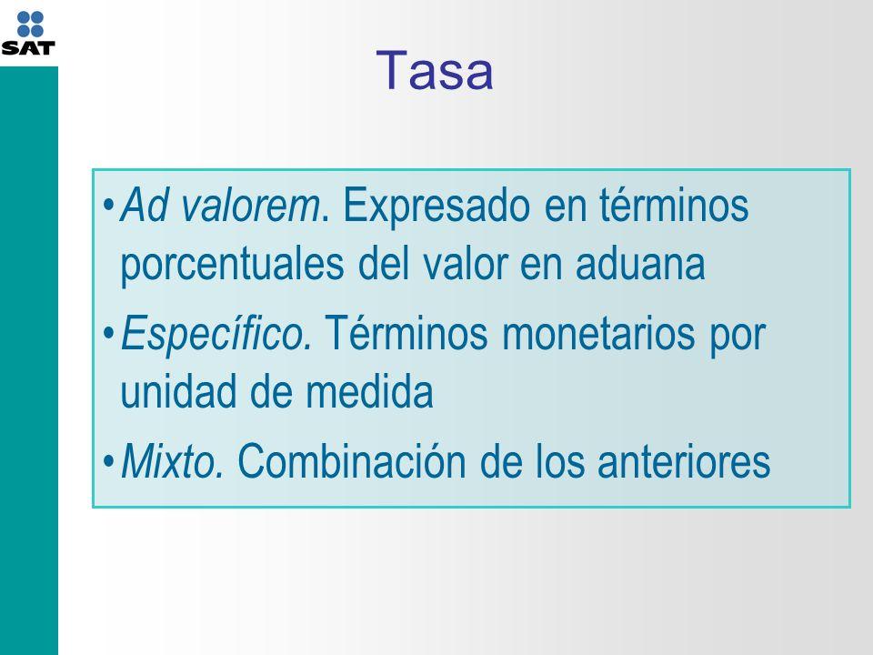 Tasa Ad valorem. Expresado en términos porcentuales del valor en aduana. Específico. Términos monetarios por unidad de medida.