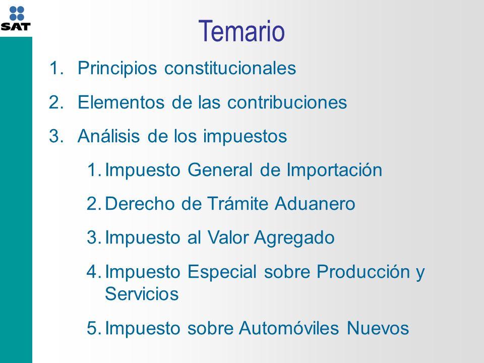 Temario Principios constitucionales Elementos de las contribuciones