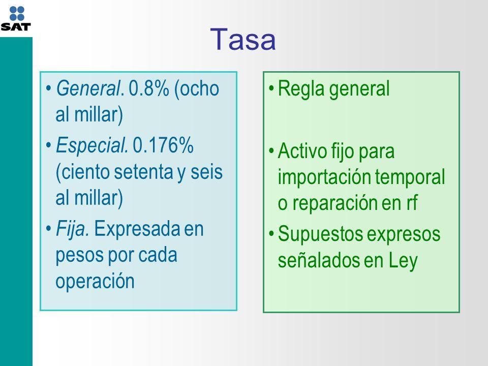 Tasa General. 0.8% (ocho al millar)