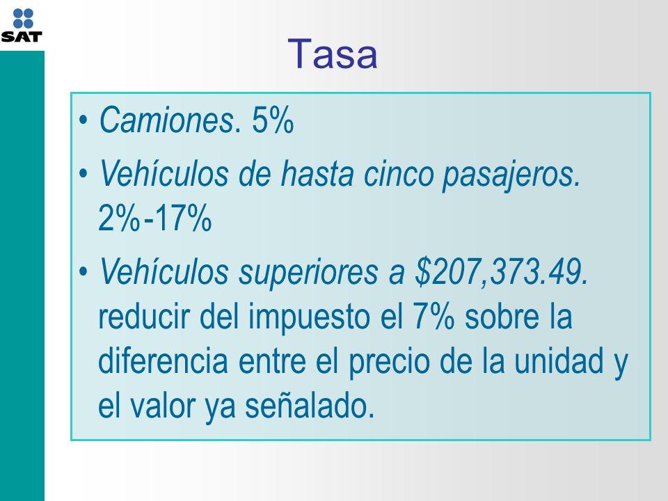 Tasa Camiones. 5% Vehículos de hasta cinco pasajeros. 2%-17%