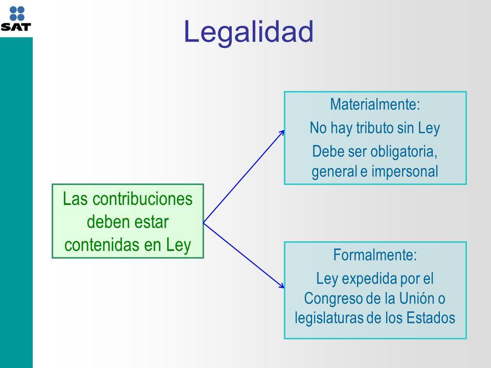 Legalidad Las contribuciones deben estar contenidas en Ley