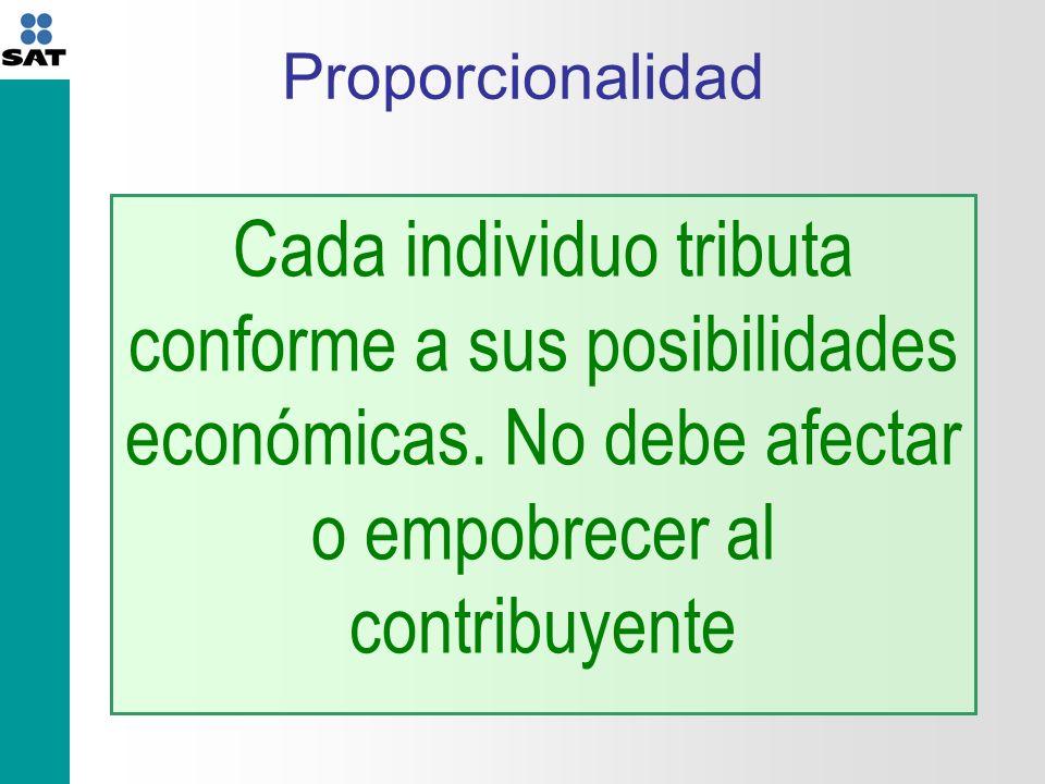 Proporcionalidad Cada individuo tributa conforme a sus posibilidades económicas.