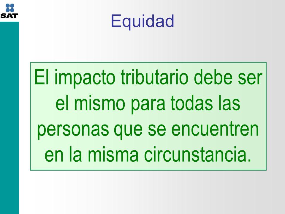 Equidad El impacto tributario debe ser el mismo para todas las personas que se encuentren en la misma circunstancia.