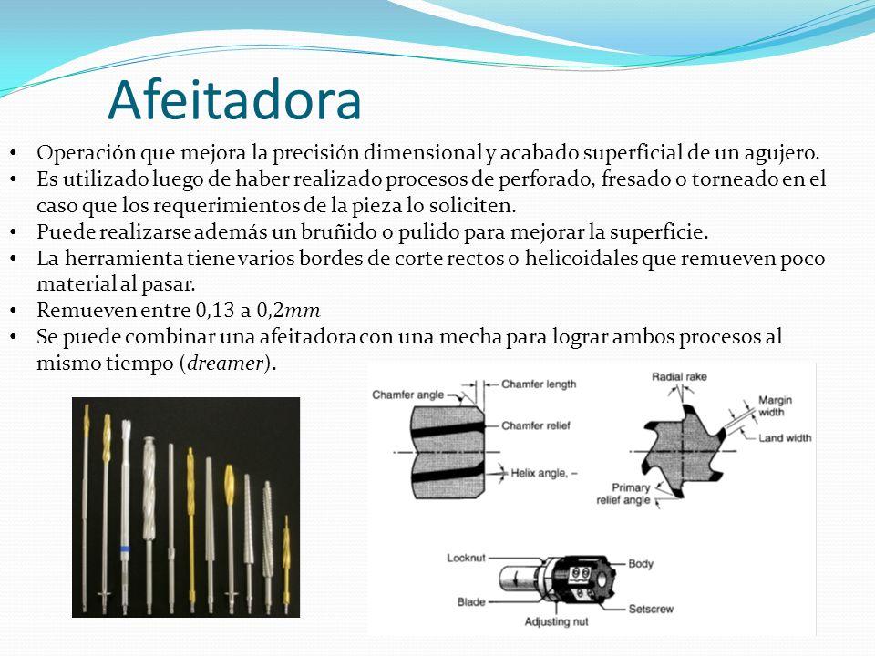 Afeitadora Operación que mejora la precisión dimensional y acabado superficial de un agujero.
