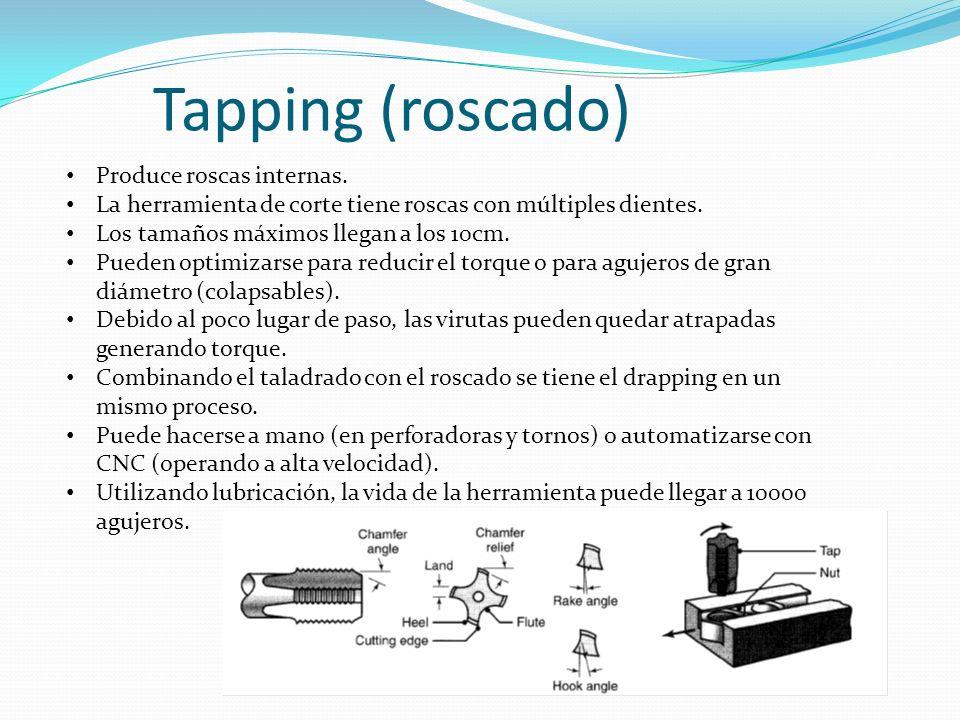 Tapping (roscado) Produce roscas internas.