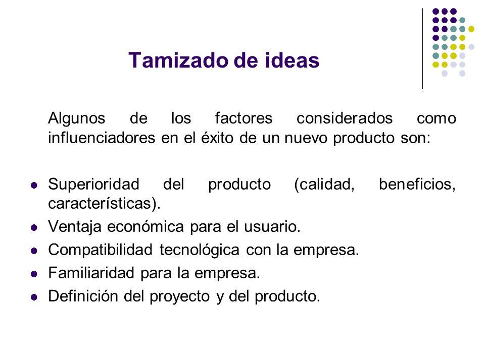 Tamizado de ideas Algunos de los factores considerados como influenciadores en el éxito de un nuevo producto son: