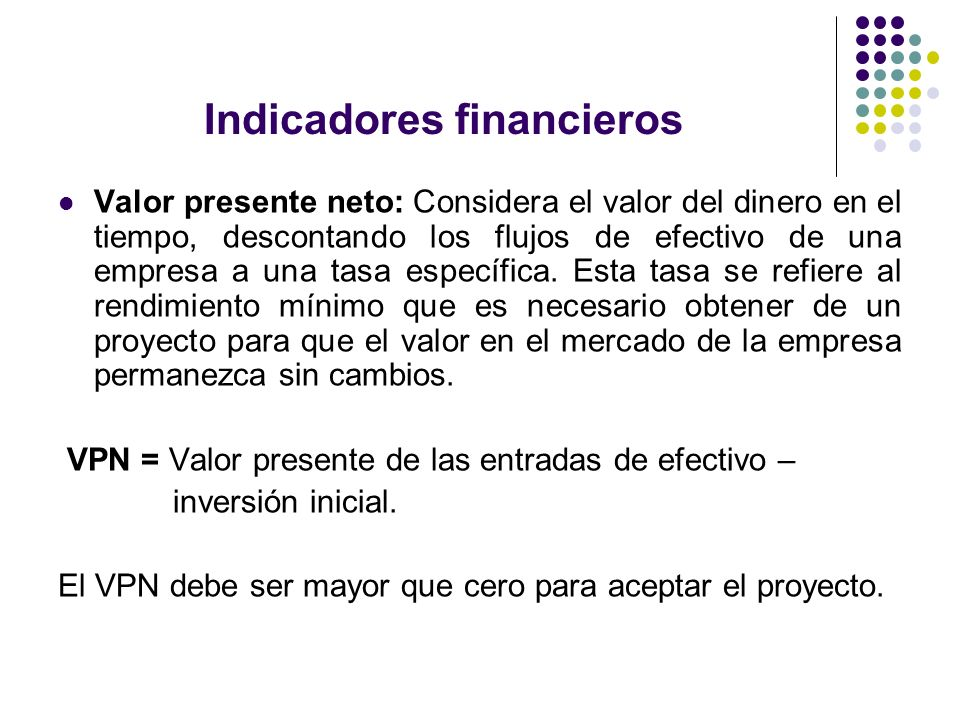 Indicadores financieros