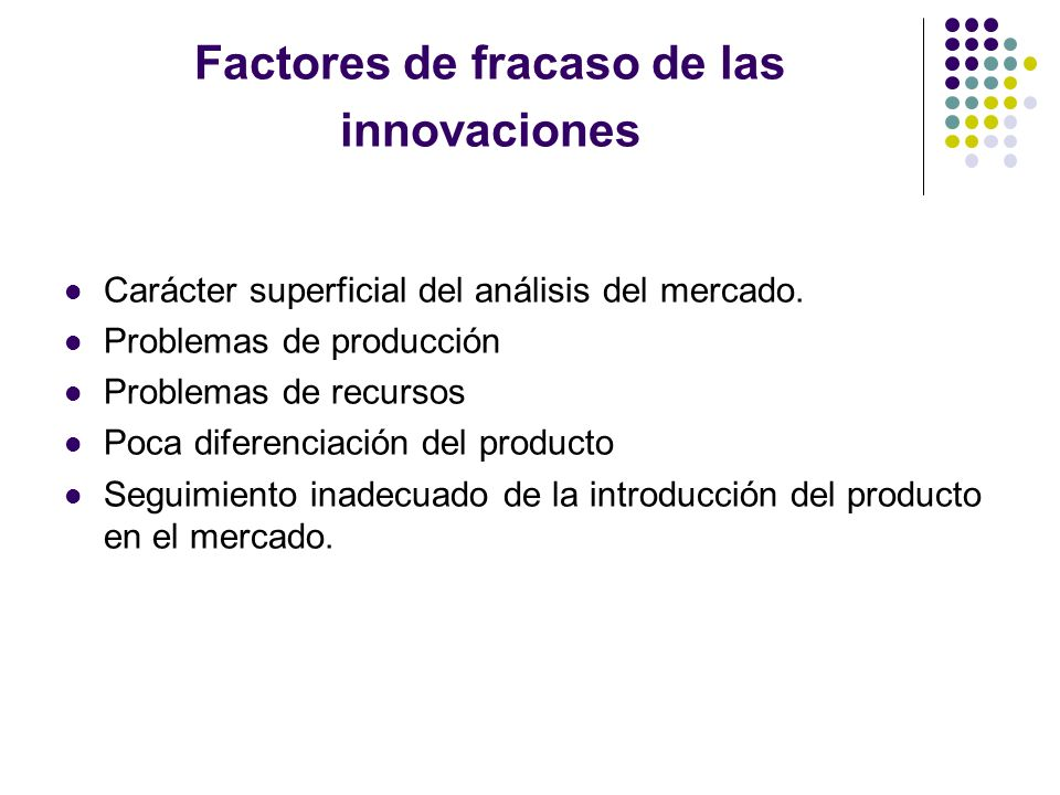 Factores de fracaso de las innovaciones