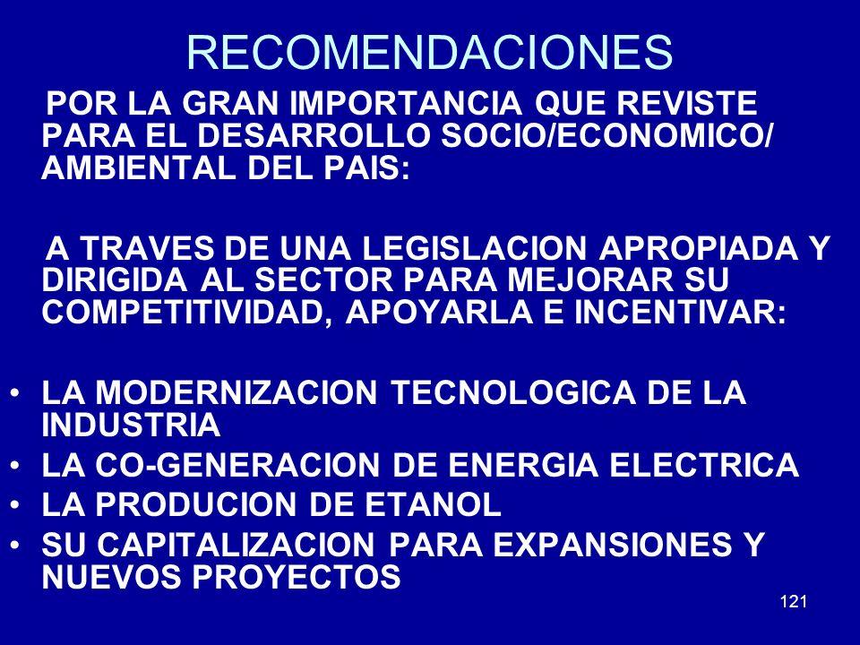 RECOMENDACIONES POR LA GRAN IMPORTANCIA QUE REVISTE PARA EL DESARROLLO SOCIO/ECONOMICO/ AMBIENTAL DEL PAIS: