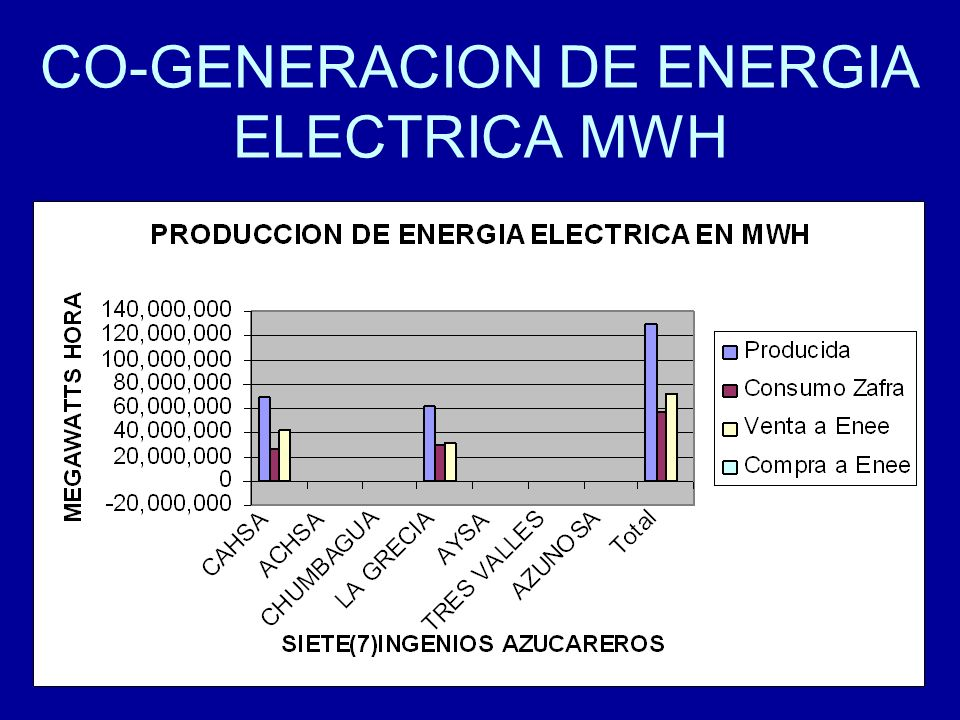 CO-GENERACION DE ENERGIA ELECTRICA MWH
