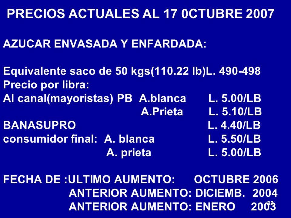 PRECIOS ACTUALES AL 17 0CTUBRE 2007