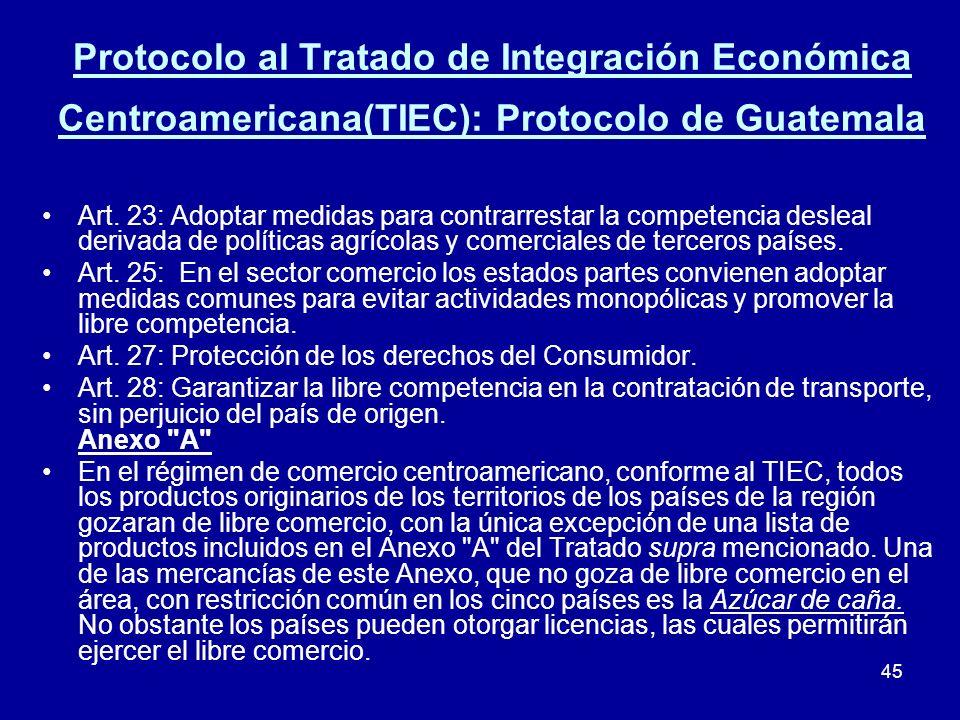 Protocolo al Tratado de Integración Económica Centroamericana(TIEC): Protocolo de Guatemala