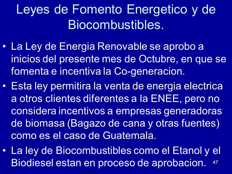 Leyes de Fomento Energetico y de Biocombustibles.