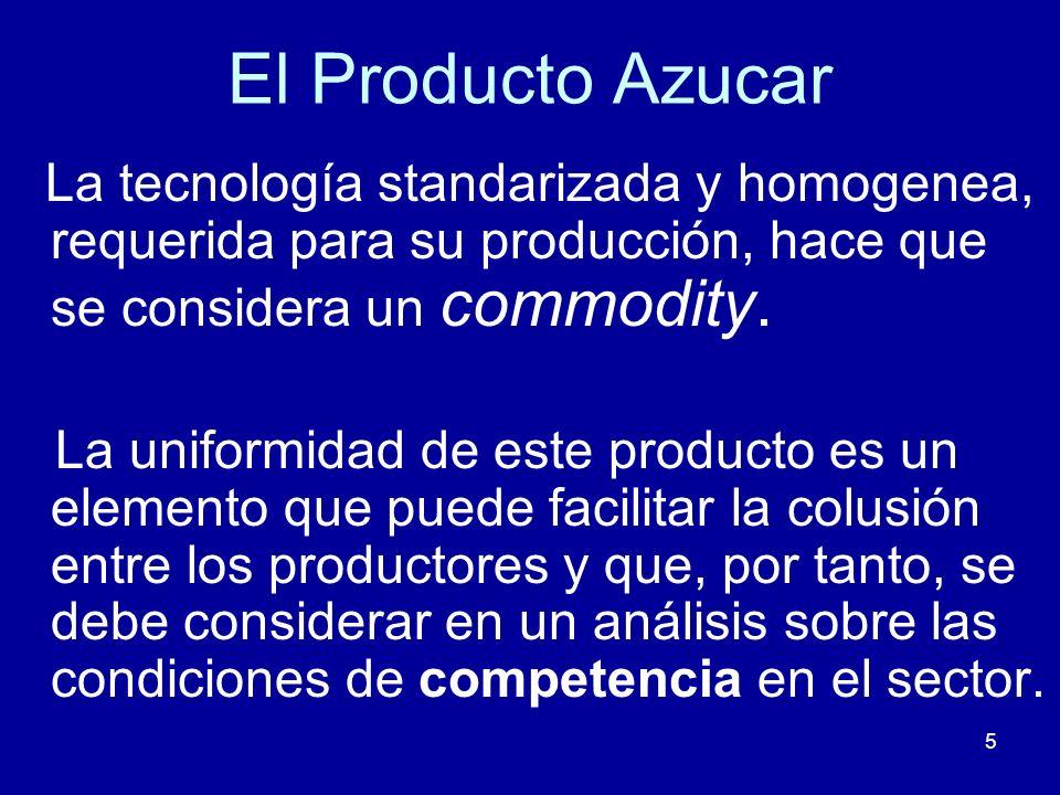 El Producto Azucar La tecnología standarizada y homogenea, requerida para su producción, hace que se considera un commodity.