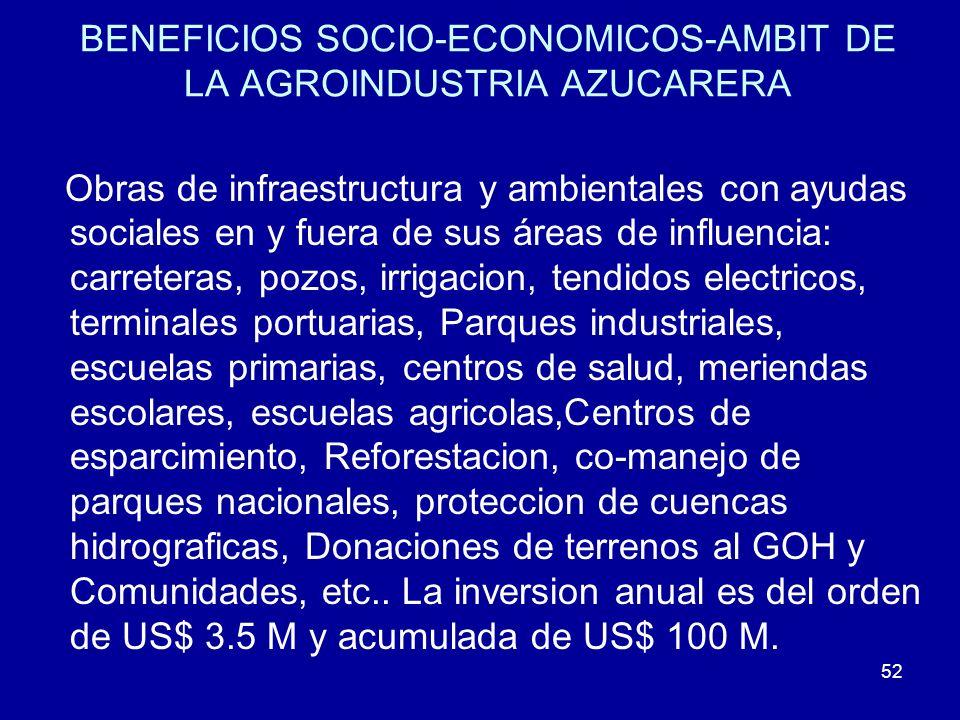 BENEFICIOS SOCIO-ECONOMICOS-AMBIT DE LA AGROINDUSTRIA AZUCARERA