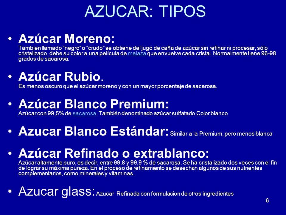 AZUCAR: TIPOS