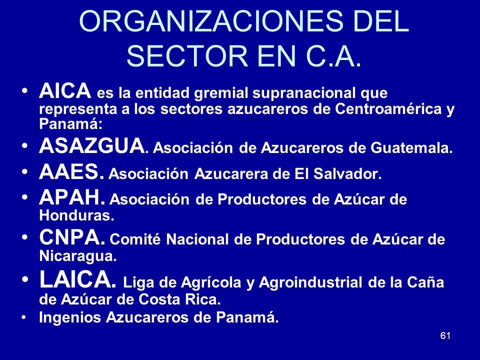 ORGANIZACIONES DEL SECTOR EN C.A.