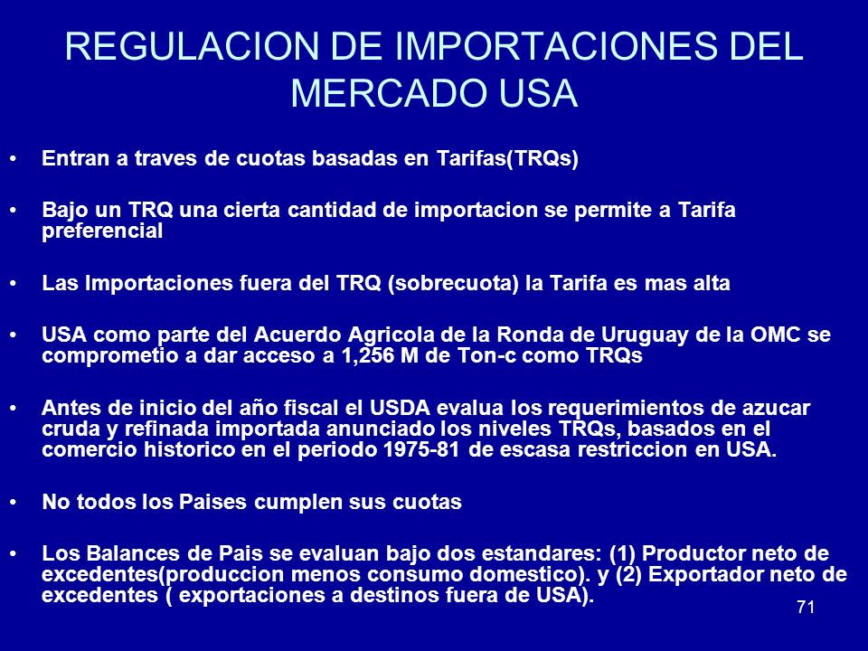 REGULACION DE IMPORTACIONES DEL MERCADO USA