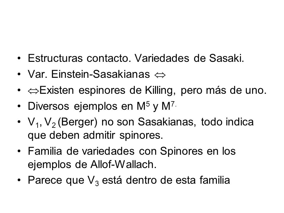 Estructuras contacto. Variedades de Sasaki.