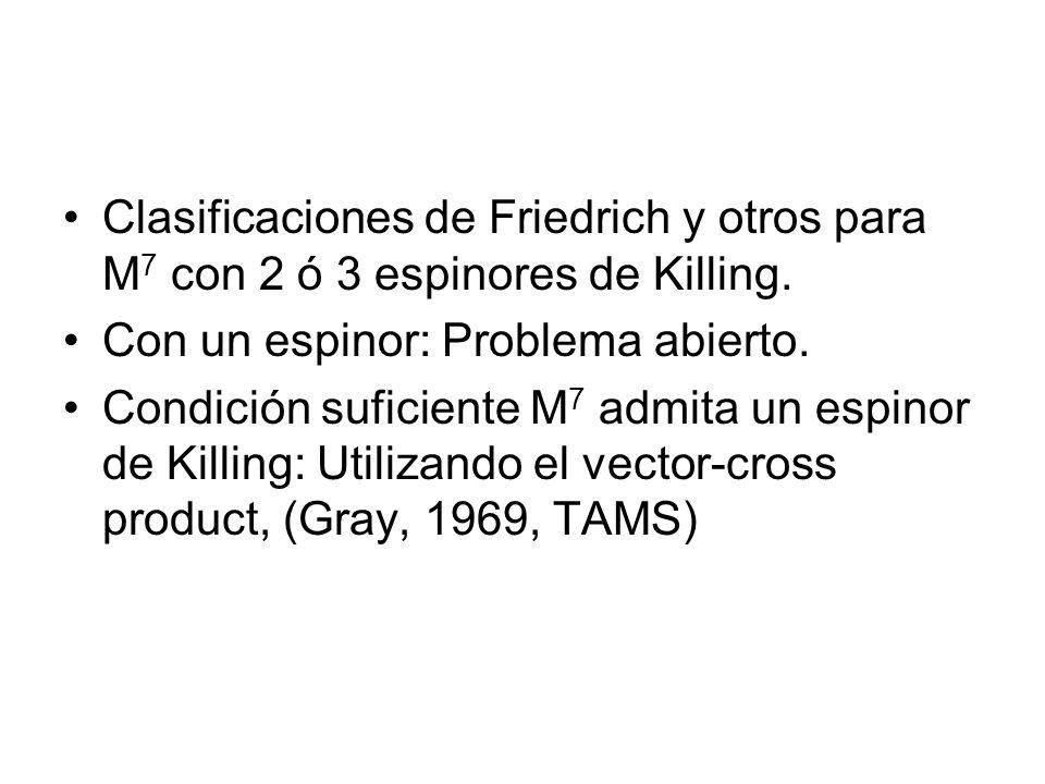 Clasificaciones de Friedrich y otros para M7 con 2 ó 3 espinores de Killing.