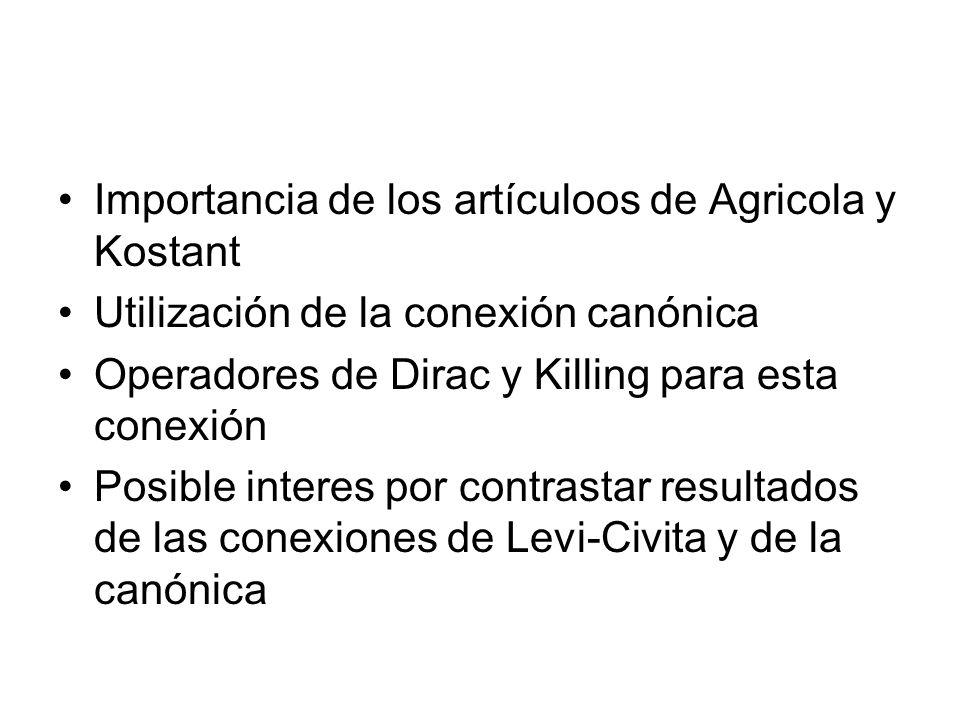Importancia de los artículoos de Agricola y Kostant