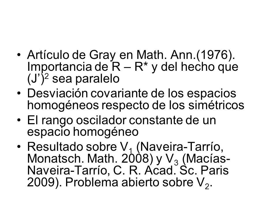 Artículo de Gray en Math. Ann. (1976). Importancia de R – R