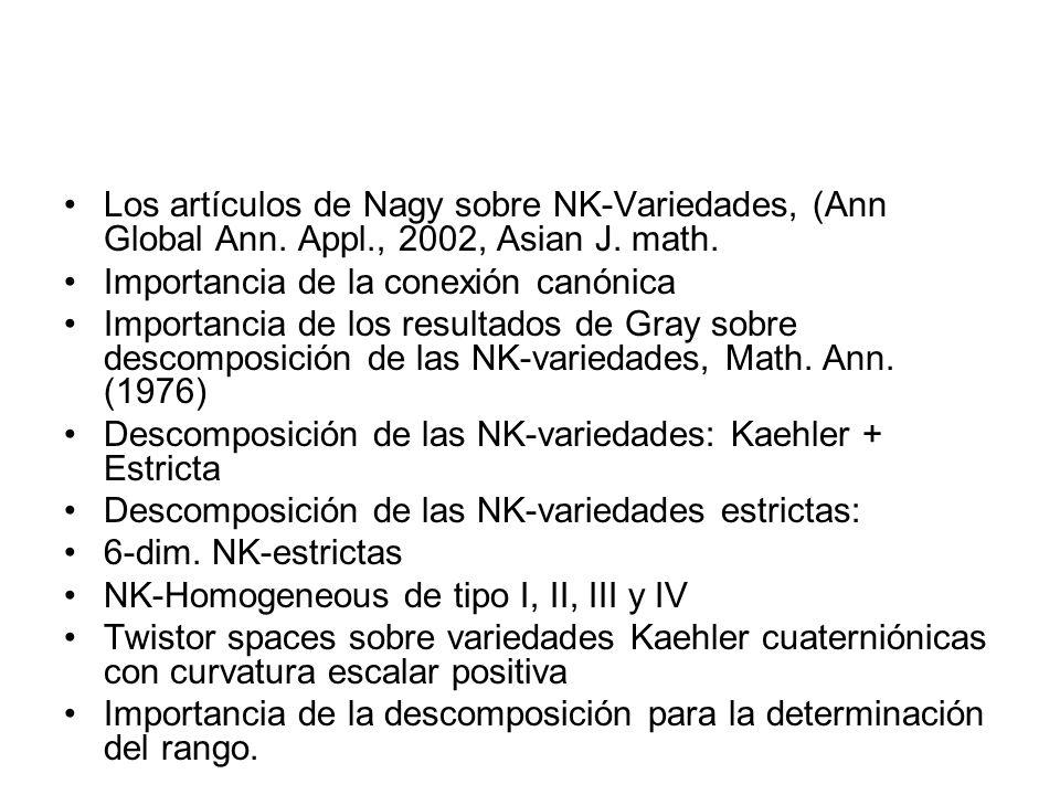 Los artículos de Nagy sobre NK-Variedades, (Ann Global Ann. Appl