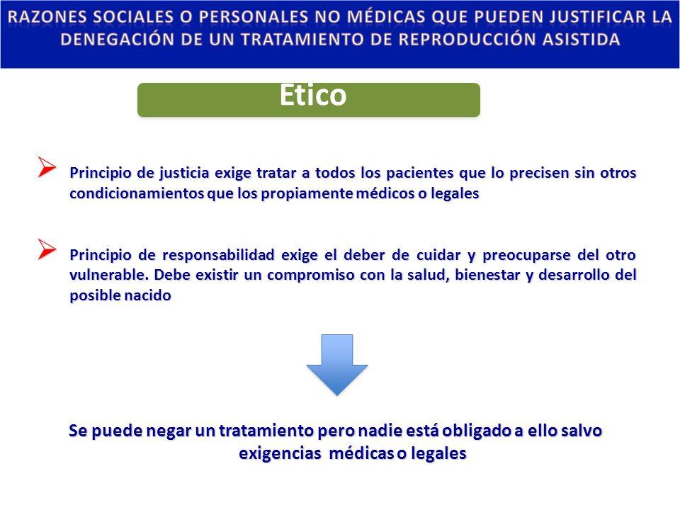 Ético Principio de justicia exige tratar a todos los pacientes que lo precisen sin otros condicionamientos que los propiamente médicos o legales.