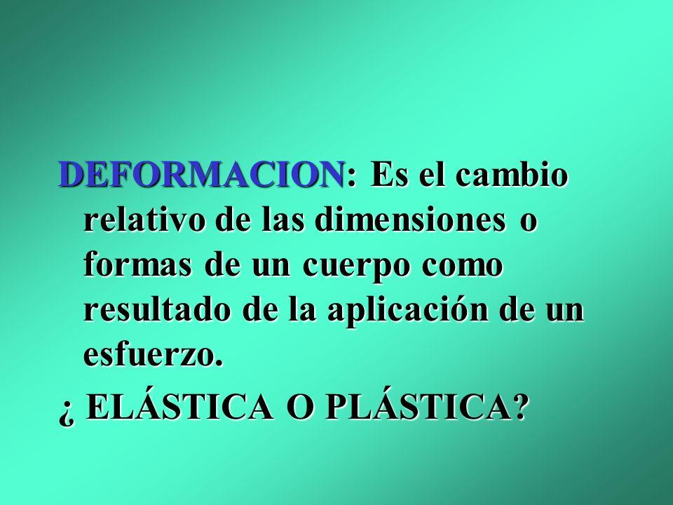 DEFORMACION: Es el cambio relativo de las dimensiones o formas de un cuerpo como resultado de la aplicación de un esfuerzo.