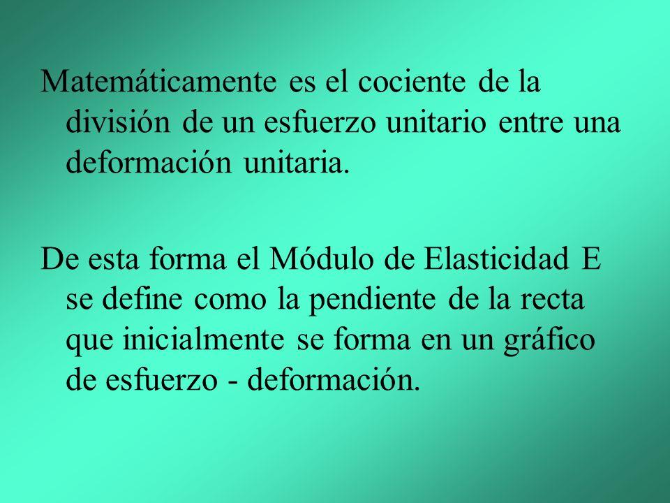 Matemáticamente es el cociente de la división de un esfuerzo unitario entre una deformación unitaria.