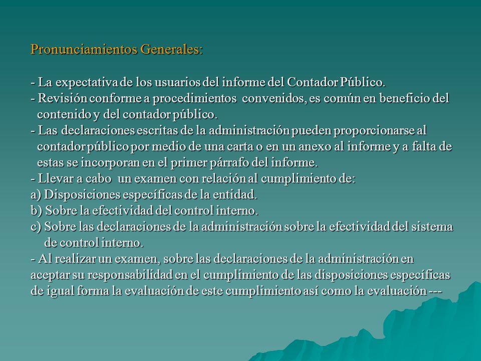 Pronunciamientos Generales: - La expectativa de los usuarios del informe del Contador Público.