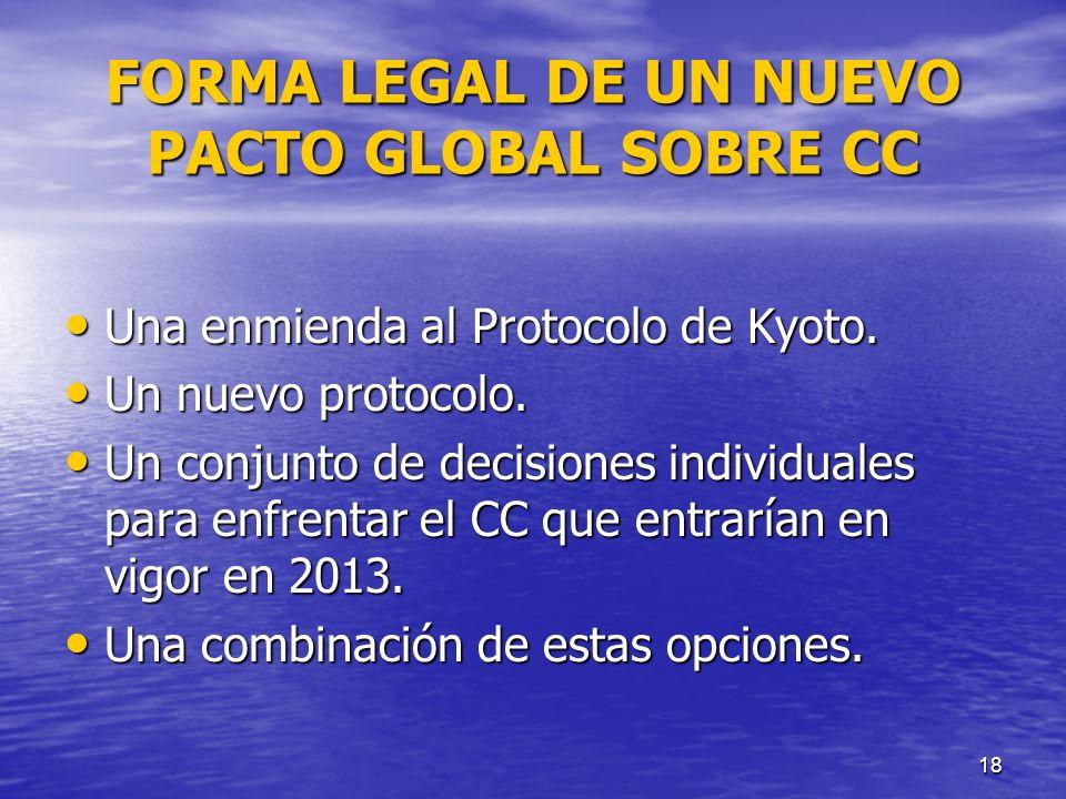 FORMA LEGAL DE UN NUEVO PACTO GLOBAL SOBRE CC