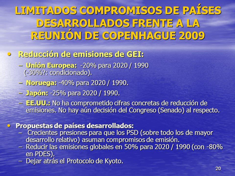 LIMITADOS COMPROMISOS DE PAÍSES DESARROLLADOS FRENTE A LA REUNIÓN DE COPENHAGUE 2009