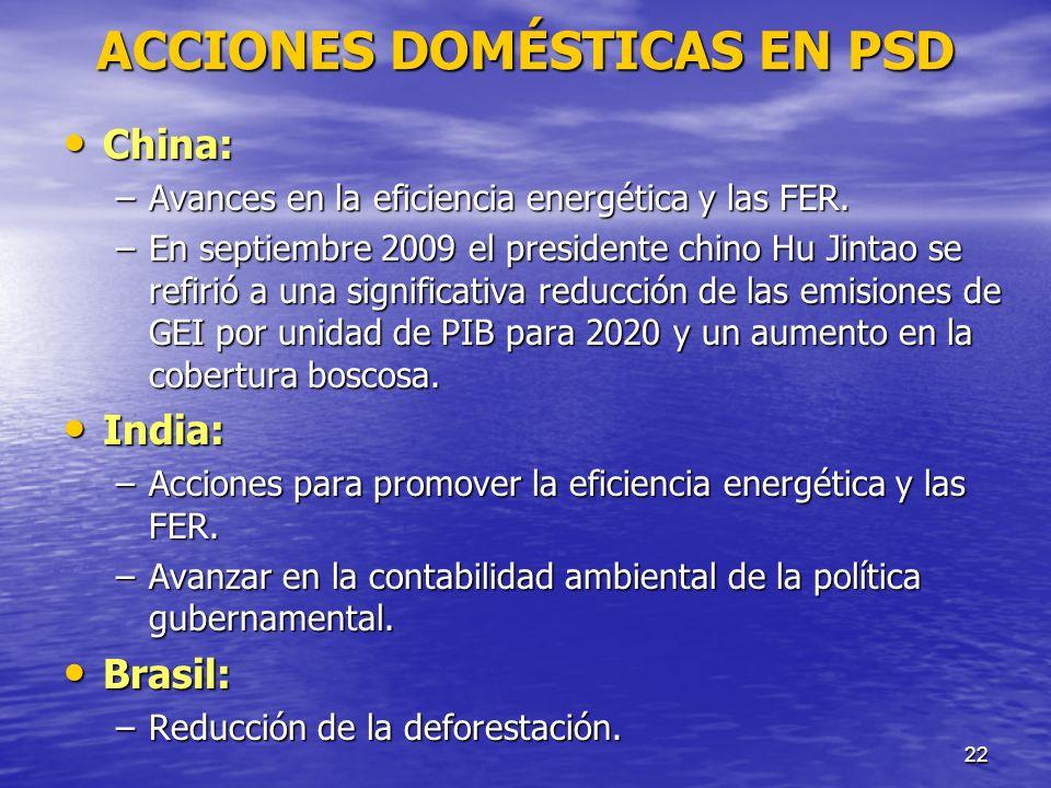 ACCIONES DOMÉSTICAS EN PSD