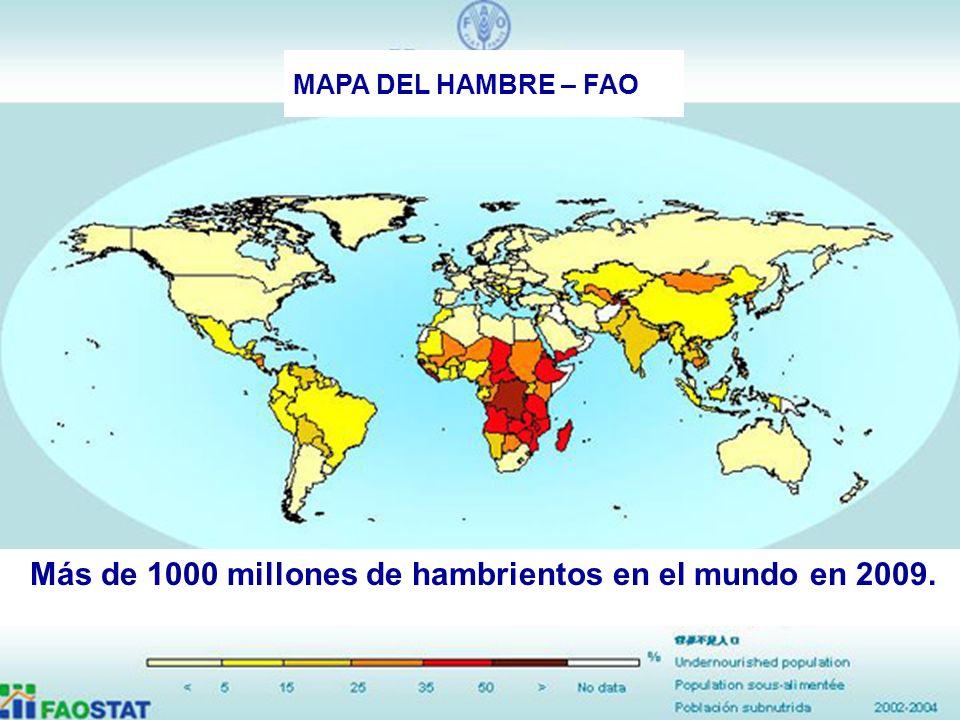 Más de 1000 millones de hambrientos en el mundo en 2009.