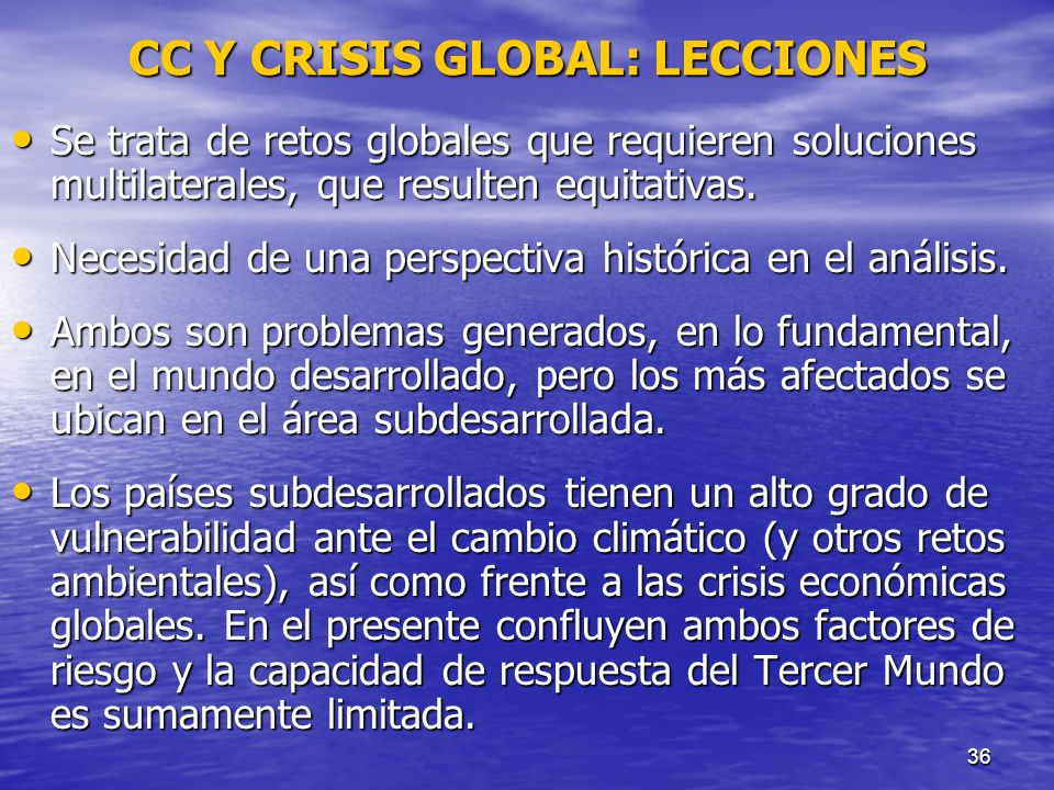 CC Y CRISIS GLOBAL: LECCIONES